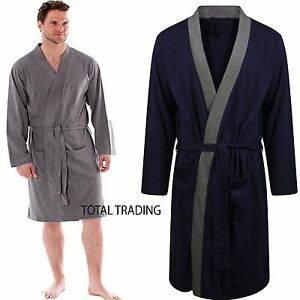 Mens-Dressing-Gown-Gowns-Robe-Cotton-rich-kimono-gents-Summer-Lightweight