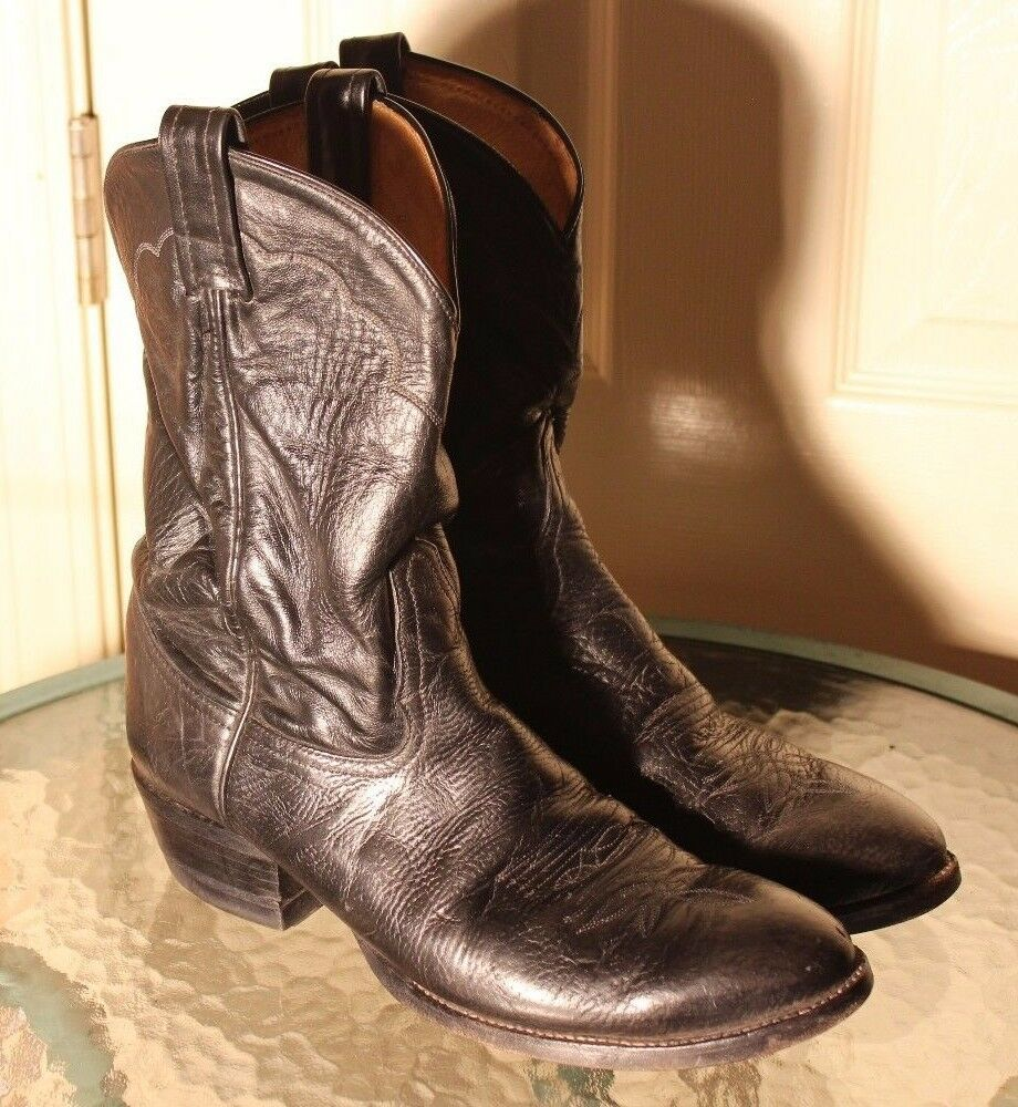 Tony Lama mens Black Leather Cowboy Western TRUCKER Boots 2206 size 10 D