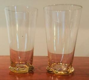 VINTAGE  Yellow Glass Tumblers Set of 2