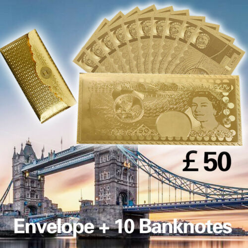 10pcs British £50 Note 24KT Gold Colored Banknotes Bank Of England With Envelope