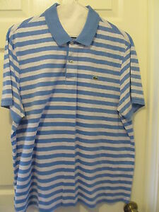 22980e3f Details about Lacoste Mens Regular fit Polo Shirt Blue/White Striped SS sz  7 US XL