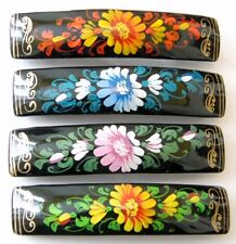 Russian Lacquer Papier Mache Hair Clip Barrette Hand Painted Signed Folk Art New