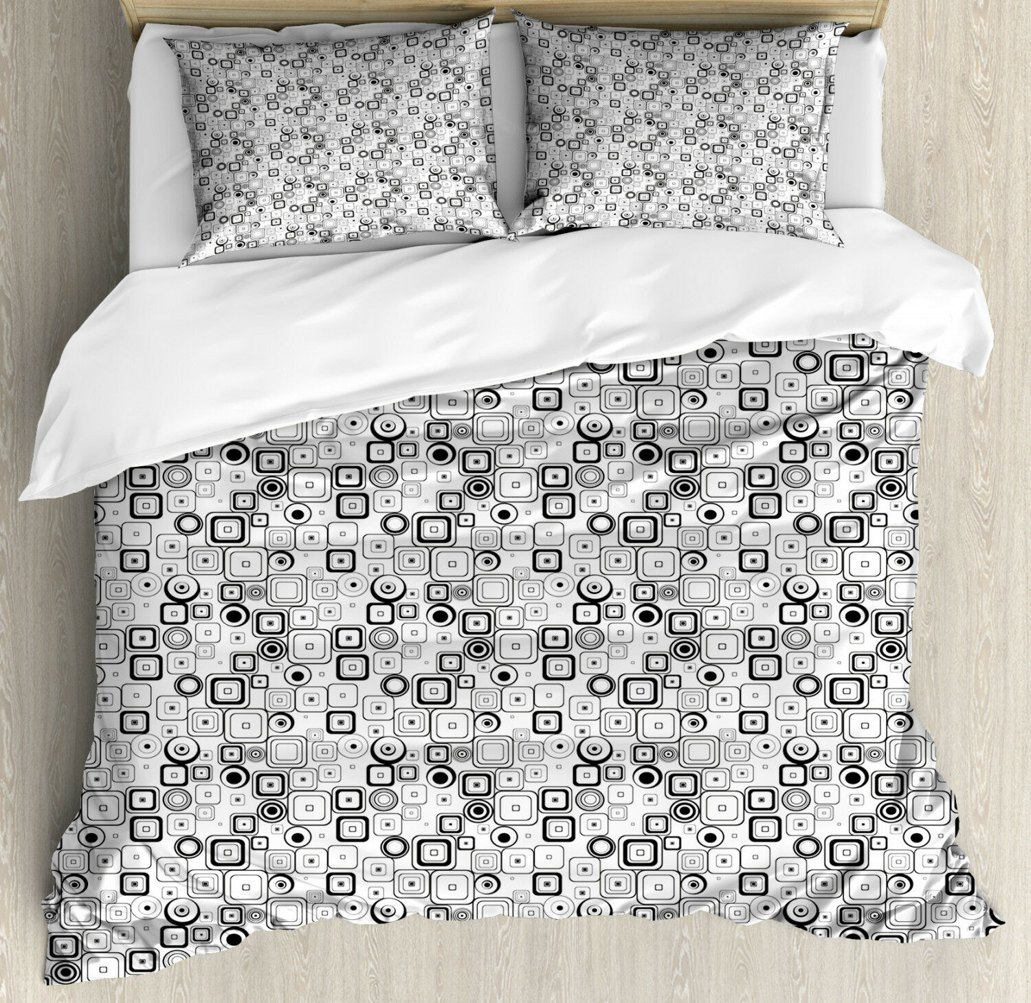 Abstract Duvet Cover Set with Pillow Shams Vintage Squares Retro Print