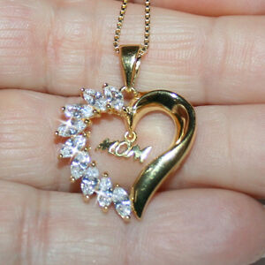 Diamond-Alternatives-Mom-Heart-Pendant-Necklace-Yellow-14k-Gold-over-925-SS