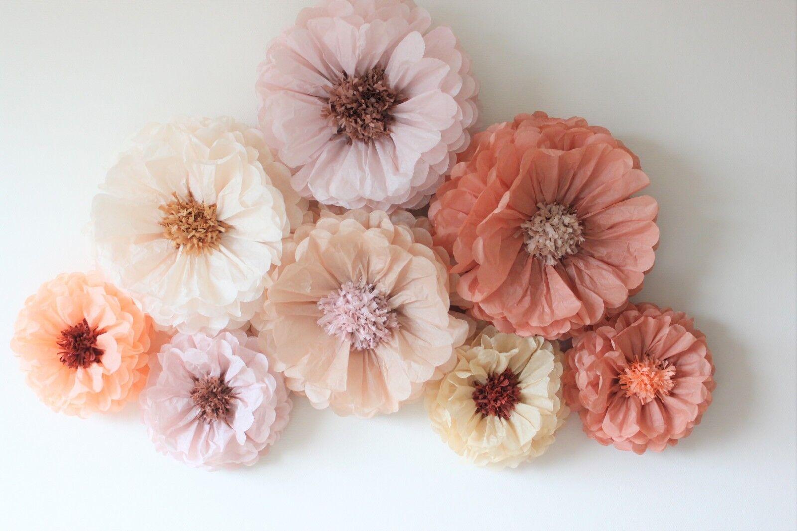 12 énorme papier fleurs.   Shower. Wanddekor. Cœur. mariage décor.