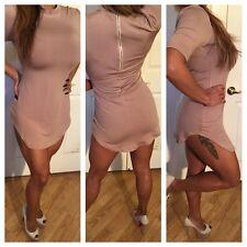 Sexy Mockneck Nude beige Mini Dress 3/4 Sleeve w/ rounded hem Zipper Closure  L