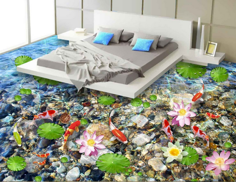 3D Stones Koi Lotus 6 Floor WallPaper Murals Wall Print 5D AJ WALLPAPER UK Lemon