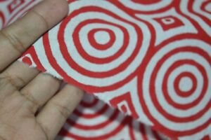 70-Yards-Indian-Red-amp-White-100-Cotton-New-Hand-Block-Printed-Fabric-Handmade