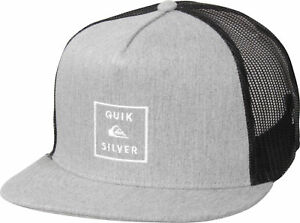 new style 9080f 7c470 Image is loading Quiksilver-Mens-Clipster-Snapback-Trucker-Hat-Medium-Gray-