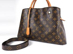 Auth LOUIS VUITTON Montaigne MM Monogram 2way Tote Bag Shoulder Bag M41055 V1713
