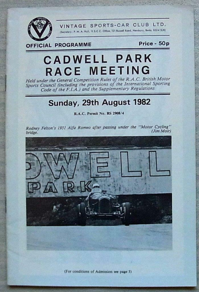 Cadwell Parque 29 de de de agosto 1982 vscc programa oficial de coche de carreras de reunión 9cf1fb