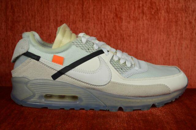 best loved 0f33c f0596 WORN ONCE OFF WHITE x Nike Air Max 90 Sail White Virgil Abloh AA7293-100  Size 9