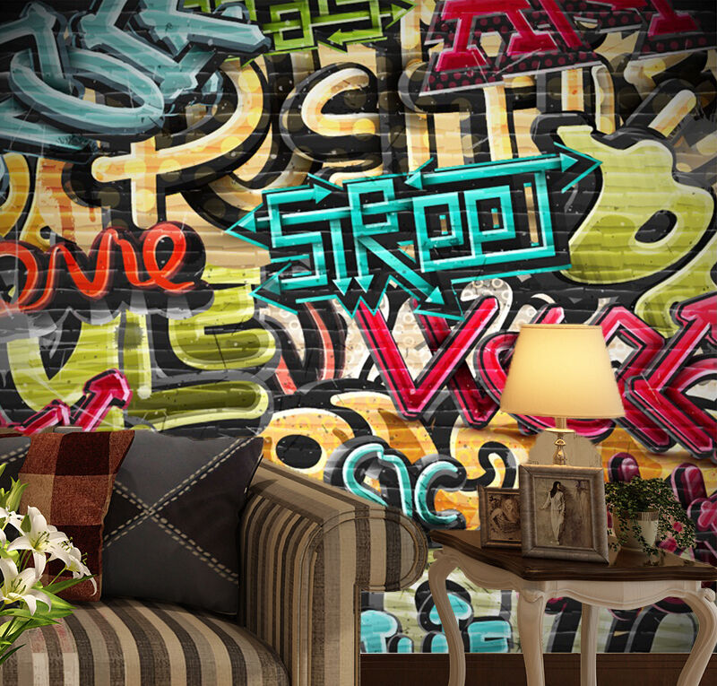 3D Graffiti music word Wall Paper wall Print Decal Wall Deco Indoor wall Mural