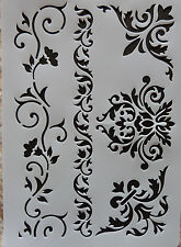 Plastic /PVC/Stencil/Multi/Floral/Corner/Border/Ornate/Vine/Design/Painting/Art