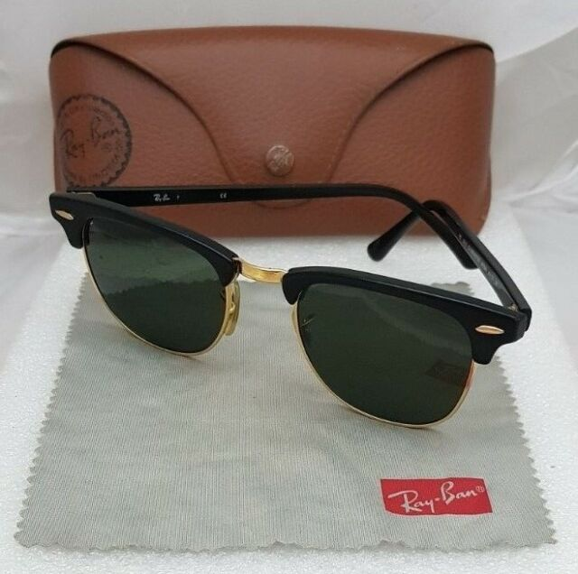 dd6af7d958 SUNGLASSES Ray-Ban Clubmaster Black Frame Green Lenses RB 3016 W0365 49 21  Case