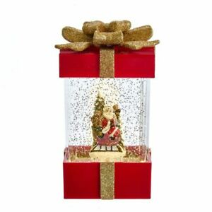 Santa-Claus-Sleigh-Gift-Box-Present-Water-Glitter-Globe-LED-Light-Up-7-5-034-Decor