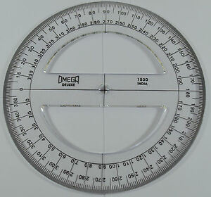 Omega circular protractor 360 degree 15cm transparent for Circular protractor template