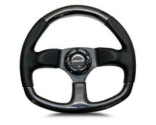 NRG 320mm SPORT REAL CARBON FIBER STEERING WHEEL (BLACK STITCHING) FLAT BOTTOM