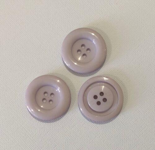 3 Large Light Purple Coat Buttons Round 35mm L0124 Aussie Seller