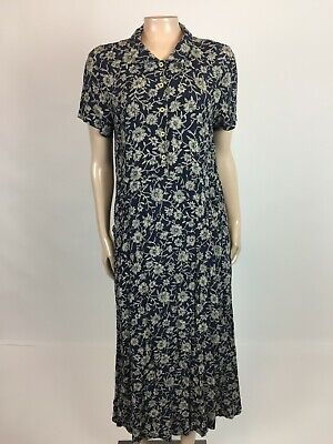 Vintage 90s Eddie Bauer Purple Floral Button Front Tie Waist Rayon Midi Dress XL