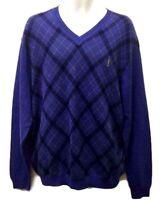 Payne Stewart Purple Argyle Sweater Size Medium Long Sleeve V-neck Cotton