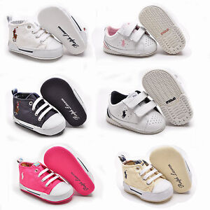 cc482b33ad92a Details about Ralph Lauren polo Newborn Crib shoes Canvas Leather White  Pink Navy