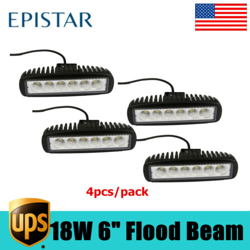 "4X 6/"" 18W LED Work Flood Light Bar Truck Boat Driving Fog Lamp Offroad SUV DRL"
