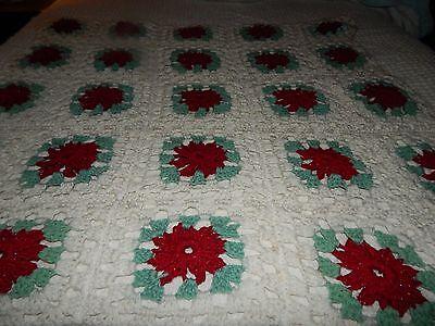 """Handmade Poinsettia Crocheted  3D Afghan Throw 40""""×40"""""""