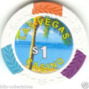 3 pc 3 colors 14g Palm Tree Beach Scene poker chip samples #112
