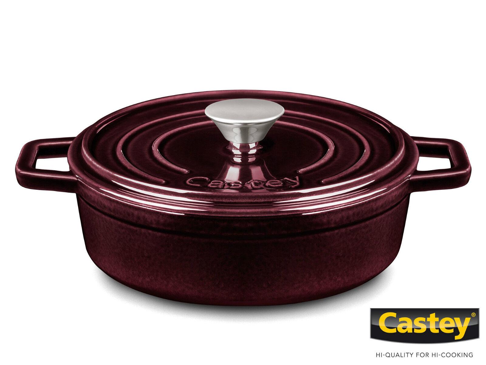 CASTEY fonte schmorkasserolle cocotte 22 cm servierpfanne pourpre EMAILLE