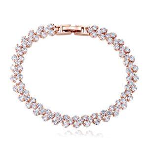18K-Rose-Gold-GF-Made-With-Swarovski-Element-Sparking-Cluster-Tennis-Bracelet