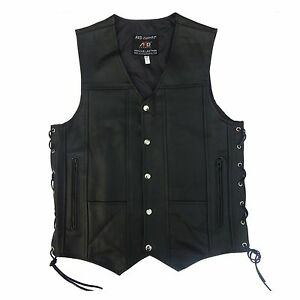 ARD® Men's Black Genuine Leather 10 Pockets Motorcycle Biker Vest New S To 12XL