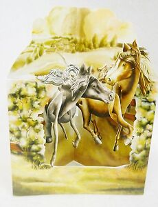 HORSES IN THE FIELD  Greeting Card 3-D Interactive Swing by Santoro Graphics 163