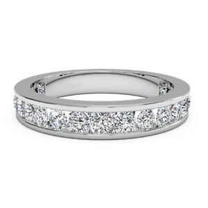 1.00 Ct Round Cut Moissanite Eternity Band 14K White Gold Engagement Ring Size 8