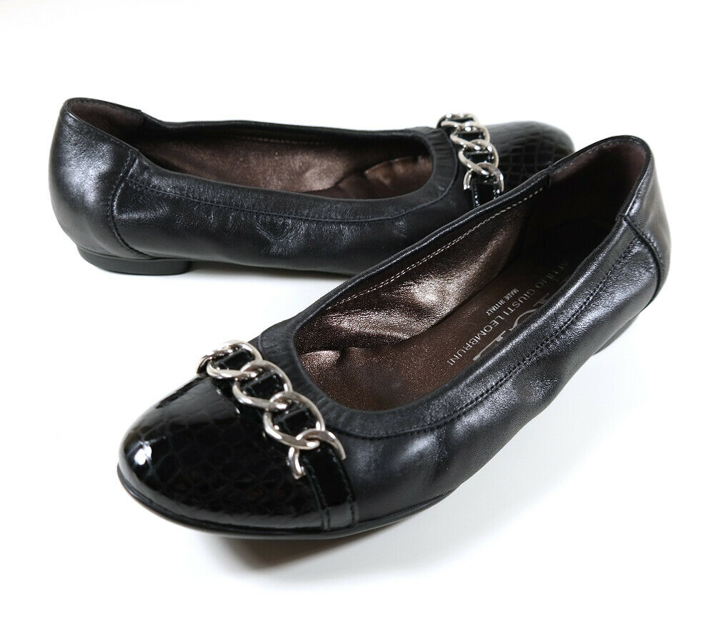 AGL Attilio Giusti Leombruni Link Nappa Leather Ballet Flat 7.5 Snake Cap Toe