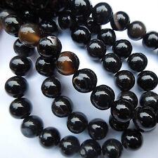 15en negro ágata Round piedras preciosas perlas de la fabricación de joyas tamaño (mm) 10