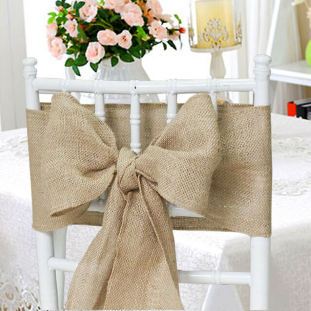 Excellent 150 Packs Burlap 6X108 Chair Cover Sashes Bows Natural Jute Wedding Event Ncnpc Chair Design For Home Ncnpcorg