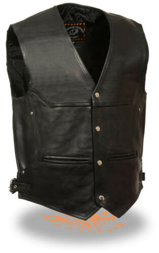 Mens Deep Pocket Motorcycle Vest with Side Buckles Concealed Gun Pockets