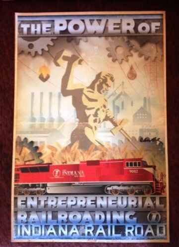 """Signed. Limited Edition /""""The Power of Entrepreneurial Railroading/"""" train print"""