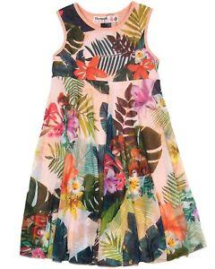 Desigual NWT Girls Cotton Dress Sleeveless Tropical Print Sizes 5-14