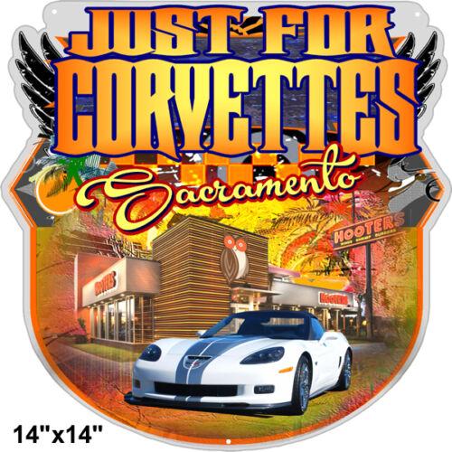 Corvettes Sports Car Sacramento Cut Out Metal Sign 14×14