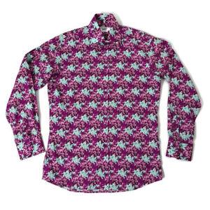 John-flancomb-TM-Lewin-15-5-034-Blue-Purple-Floral-Mangas-Largas-Camisa-de-hombre-inteligente