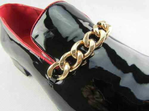 Rossellini Prince Men/'S Moccasin Shoes Shiny Leather Lined Gold Heel Loafer