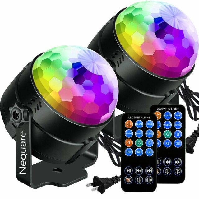 2 Pack Nequare Party Lights Sound Activated Disco Ball Strobe Light 7 Lighting