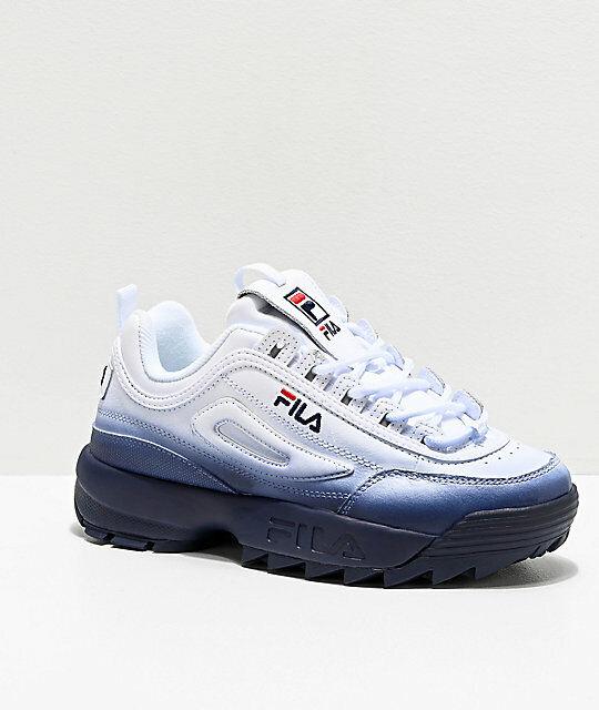 Damen Fila Disruptor II Premium Verblasst Blau Athletic Schuhe Neu 2