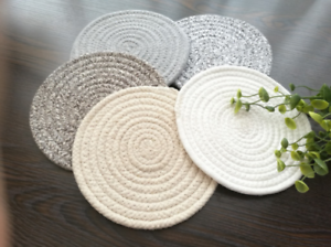 Placemat Package Set of 5 Table Mat Gifts Circular Weave Cotton Coasters Round