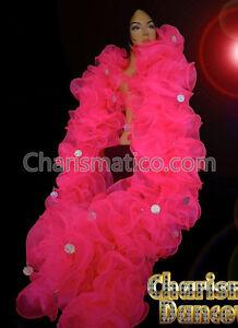 Charismatico Pink Green JUMBO RUFFLE BURLESQUE Cabaret Organza gigantic BOA
