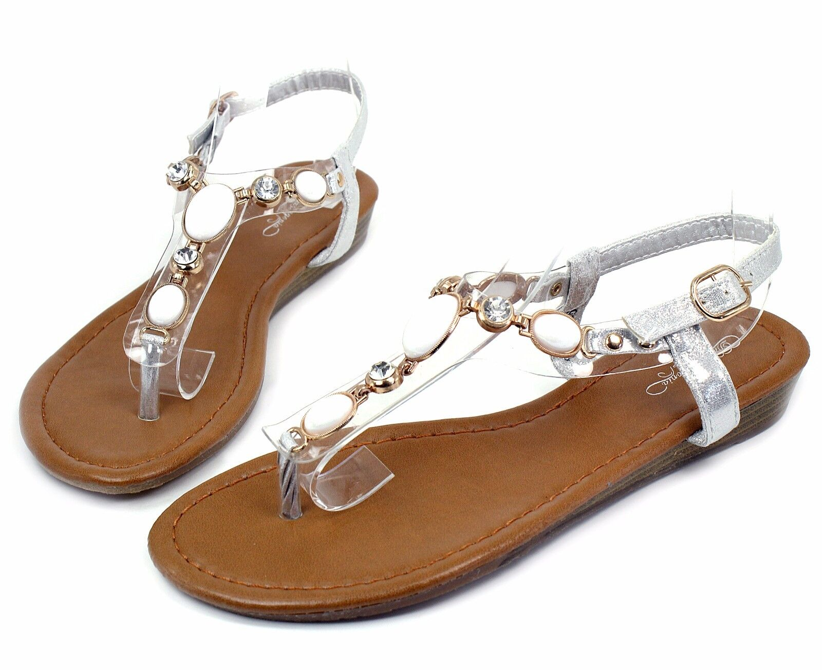 THW-26 New Heel Gladiator Buckle Wedge Low Heel New Sandals Casual Women Shoes Silver 8.5 ed091c