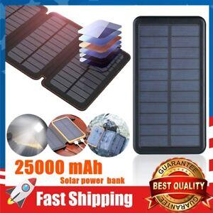 Solar Power Bank 250000mAh Portable Waterproof External Battery Charger w/ Light