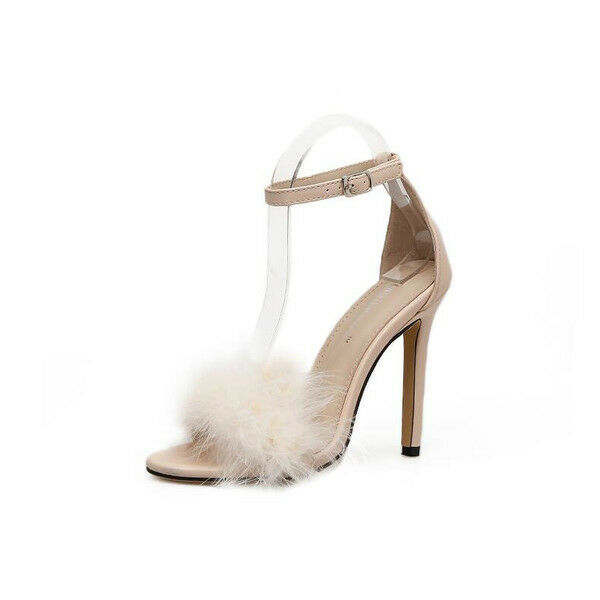 Último gran descuento Sandali eleganti tacco stiletto 12 cm bianco pelo simil pelle eleganti 9636